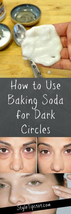 Health Beauty Remedies Baking Soda for Dark Circles - Today we'll show you how to use baking soda for dark circles and explain exactly WHY and HOW it works! Beauty Care, Diy Beauty, Beauty Skin, Beauty Makeup, Baking Soda Dark Circles, Dark Circle Remedies, Baking Soda Face, Baking Soda Uses, Dark Circles Under Eyes