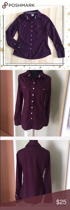 Converse One Star Plum Shirt (Hu23N6B) Casual Button down shirt . Pre- owned but in great condition. One button on left sleeve is broken ( see picture) Converse Tops Button Down Shirts