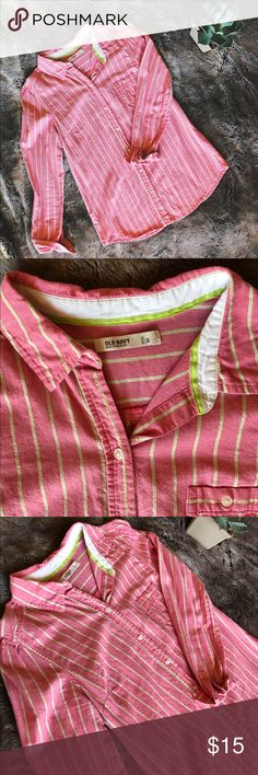 Pink Old Navy striped button down Classic women's button down top from Old Navy. Pink with thin green and white stripes. Relaxed, boyfriend-style but still has a feminine fit. Great condition! Old Navy Tops Button Down Shirts