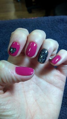 Nail designs - pink with black sparkle