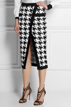 Balmain | Хаундстут-интарсия трикотажные юбка-карандаш | NET-A-PORTER.COM