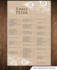 Wedding Seating Chart Free Rush Service  Hours By Happybluecat