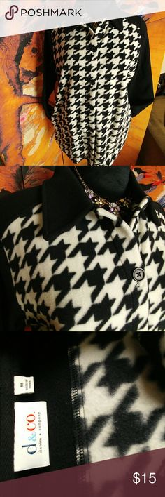 DC & Co. Soft and comfy checkered fleece jacket New never worn..perfect for transitional weather.nice enough to dress up or down. 22 inches pit to pit, 28.5 in length, great slit pockets. Cute, cozy and chic don't miss out. 14z Jackets & Coats