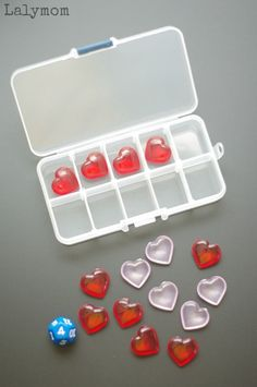 Easy Valentine Math - ten frame activity using a portable ten frame and adorable Valentine's Day hearts. Make a portable ten frame kit that would be perfect for a classroom math center, waiting room activity or just for some easy, low prep fun!