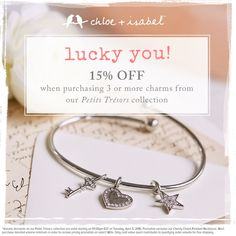Take 15% off 3 or more charms at my shop!  Great gift ideas. http://www.chloeandisabel.com/boutique/cuteclassy/b46d04