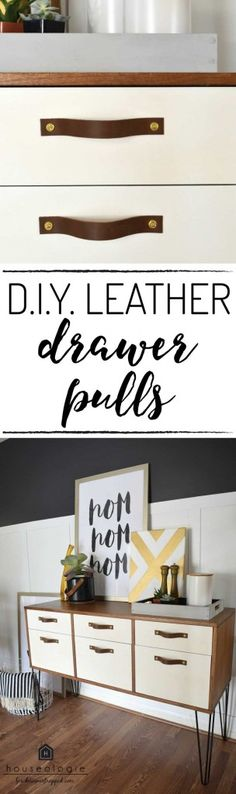 OMG! I had no idea you can make your own DIY leather drawer pulls. This blogger's tutorial makes it look SO EASY. Can't wait to try it.