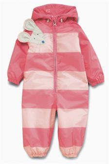 Pink Stripe Mouse Puddlesuit (3mths-6yrs)