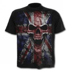 Spiral Direct Union Wrath T-Shirt,Reaper/Vampire/Skull Wings/Union Jack/Goth/Top Airbrush T Shirts, Creative T Shirt Design, Gothic Shirts, Gothic Clothing, Uk Flag, Skull Shirts, Gothic Outfits, Cool Shirts, Mens Fashion