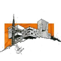 Orange marker shading of background makes building stand out.  Interesting two point perspective and effective cross hatching in pen.