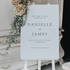 An elegant wedding welcome sign – the perfect decoration and welcome to your day. Mounted on foamex board, it's ready to be propped-up or displayed on an easel. Either way it's the perfect wedding entrance sign. Wedding Reception Entrance, Church Wedding Decorations, Wedding Signage, Church Ceremony Decor, Wedding Entrance Decoration, Wedding Centerpieces, Rustic Wedding, Elegant Wedding Programs, Reception Signs