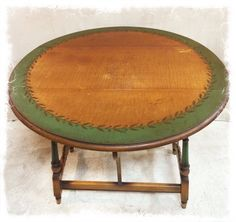 Lovely Antique Solid Wood Drop Leaf Table with Original Decorative Paint Detail $ 195