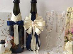 Свадебные аксессуары ручной работы. Ярмарка Мастеров - ручная работа. Купить Украшение на шампанское ( съёмное ) тем. Синий .. Handmade.