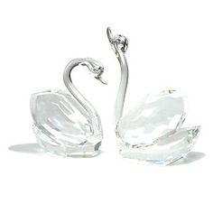 Crystal Swans Cake Topper Wedding Decoration Blown Glass Centerpiece Swarovski