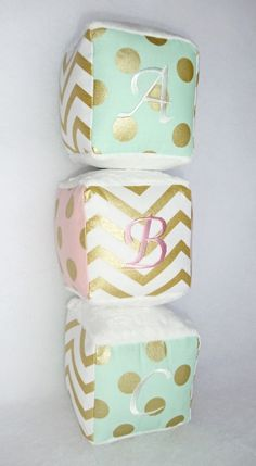 Personalized Baby Blocks in metallic gold / mint / by SewPookie