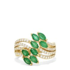 Effy Brasilica Yellow Gold Emerald and Diamond Ring, TCW Cyber Week Deals, Effy Jewelry, Jewellery, Black Friday Deals, Holiday Fashion, Vintage Rings, Band Rings, Emerald, Beaded Bracelets