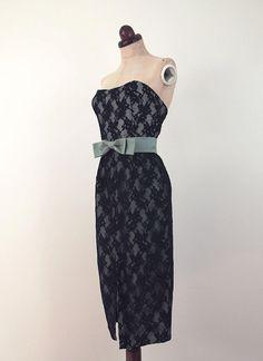 Strapless Lace Wiggle Dress Vintage 1950s by alexandrakingdesign