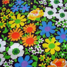 1960s Vintage Cotton Sewing Fabric - Retro Floral - Flowers -  Bright Yellow - Lime Green.  via Etsy.