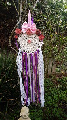 Handmade Boho Unicorn Dream catcher/Pink Flowers/Pink And Purple Ribbon/Boho Decor/Crochet Doily Satin Bows, Pink Satin, Pink Lace, Pink Flowers, Dream Catcher Pink, Lace Dream Catchers, Purple Ribbon, Dreamcatchers, Crochet Doilies