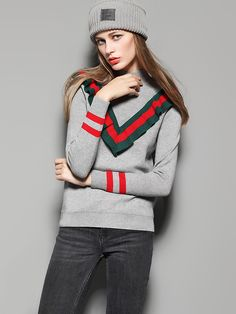 Sporty Holiday Xmas Sweater! Red and Green Stripe Grey High Neck Color Block Trims Front PulloverSweater Fashion #Red #Green #Xmas #Sporty #Striped #Sweater #Fashion