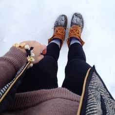 J. Crew herringbone vest, bean boots, Kate Spade bow bracelet