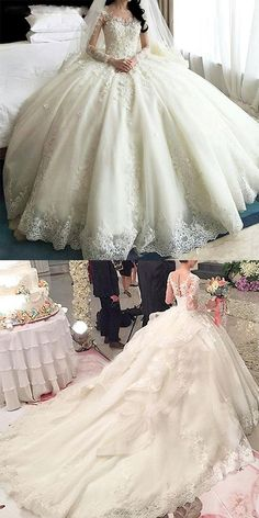 Amazing Tulle & Organza Jewel Neckline Ball Gown Wedding Dress With Lace Appliques & Flowers & Beadings - Bridal Gowns Wedding Dress Organza, Luxury Wedding Dress, Applique Wedding Dress, Princess Wedding Dresses, Dream Wedding Dresses, Wedding Dress Styles, Bridal Dresses, Wedding Gowns, Lace Dress