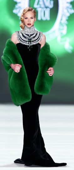 Zang Toi; so glad this designer uses green with the confidence he does; when you have a green fur, girl you got it all!