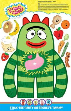 Stick the Party on Brobee's Tummy Game Description: Kids will love this Brobee game. Kids will enjoy placing these food items on Brobee's tummy! Game includes a large Br Elmo Party, Mickey Party, Dinosaur Party, Monster Party, Elmo Birthday, Dinosaur Birthday, 2nd Birthday Parties, Birthday Ideas, Birthday Decorations