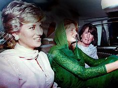 February 21, 1996: Princess Diana with Jemima Khan and her mother, Annabel Goldsmith on arrival in Lahore, Pakistan at the start of a three-day visit to help raise funds for Imran Khan's charity cancer hospital.