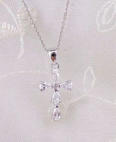 Cross Pendant Necklace Crystal Cubic Zirconia 925 Sterling Silver Jewelry NEW #unbranded #Pendant