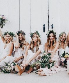 Bridesmaids with floral crowns