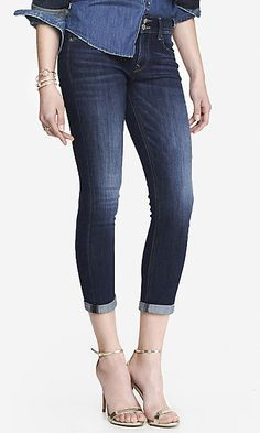 faded dark mid rise cropped jean legging