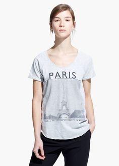 T-shirt estampado cidade | MANGO