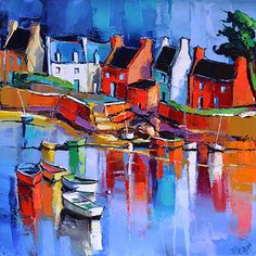 French Art Network | Lepape, Eric - LA PORT ROUGE - (50 x 50cm) - oil on linen painting.