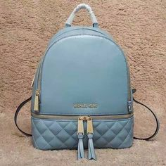 MICHAEL Michael Kors Rhea Medium Quilted-Leather Backpack Sky Blue