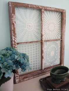 Vintage Doilies in Old Window Frame