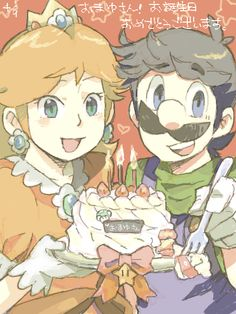 Nintendo Please give of cake from:Luigi and Daisy Luigi And Daisy, Mario And Luigi, Mario Bros, Super Mario Games, Super Mario Art, Super Mario Brothers, Nintendo Princess, Princess Daisy, Nintendo Characters
