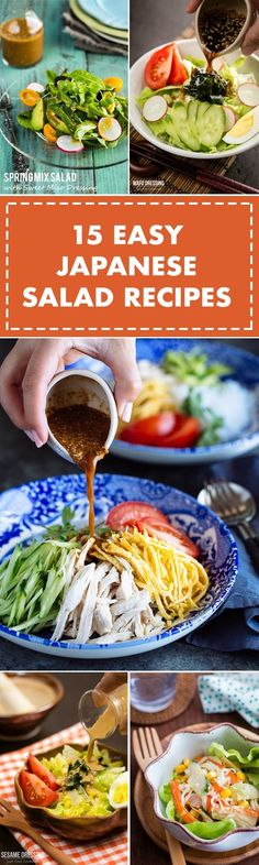 Japanese Diet for Fat Burning - 15 Easy Japanese Salad Recipes Japanese Salad, Japanese Diet, Easy Japanese Recipes, Asian Recipes, Ethnic Recipes, Vegetarian Recipes, Cooking Recipes, Healthy Recipes, Vegetarian Barbecue