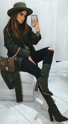 #fall #outfits Green Hat // Green Leather Shoulder Bag // Black Leather Jacket // Destroyed Skinny Jeans // Green Booties