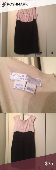 ❣final price❣London times size 18W dress EUC Worn twice and is still in good condition the top is a champagne/cream color and the bottom is black the lining is 100% polyester and the top layer of the skirt is 95% polyester and 5% spandex so the skirt does stretch London Times Dresses