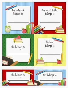 FREE Back to School Labels for Kids! Keep track of your kids' school folders, notebooks, and other items with these free printable labels! Name Tag Templates, Label Templates, Templates Printable Free, Printable Labels, Free Printables, Book Labels, Kids Labels, Beginning Of School, Back To School