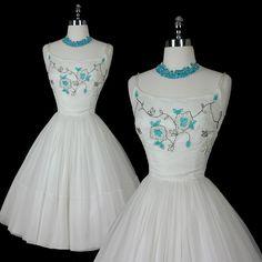 Vintage 50s Beaded Silk Wedding Party Dress S