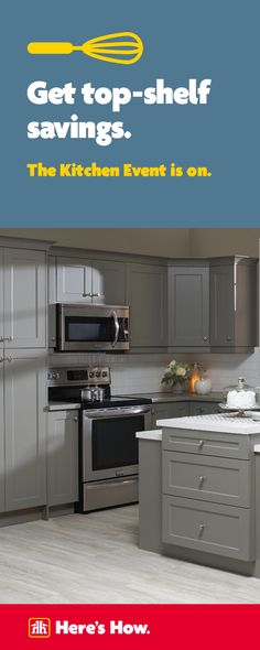 Save 10% on Grey Shaker design Kitchen Cabinets.