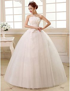 Ball Gown Strapless Floor Length Satin Tulle Wedding Dress With Sequin Flower Side D By Qqc Bridal