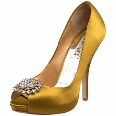 3a4f4489a7f2 Chic gold peep-toe bridal heels and Fashion