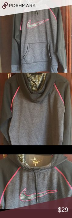 NIKE All-Time Therma-FIT Pullover Hoodie All of the comfort and style you expect from Nike! This training hoodie pullover features a warm Therma fabric and a water resistant finish for any type of weather performance. NOTE: As with most Nike products, the size runs smaller. This fits like a  snug XL (more like a baggy large). Nike Tops Sweatshirts & Hoodies