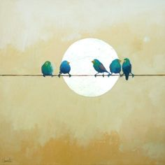 blue birds on a wire