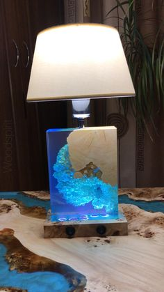 Resin Wall Art, Diy Resin Art, Diy Resin Crafts, Epoxy Wood Table, Epoxy Resin Wood, Resin Furniture, Handmade Lamps, Wood Lamps, Night Light