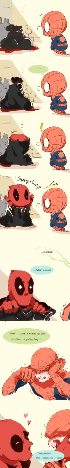 "miyake-kenwayyyy: ""The inspiration comes from on AO3.Thanks to the author for giving me such a great article! My heart was broken when I see pieces of DP were thrown into the garbage bag. Please don't be so cruel to yourself DP. Spiderman and us love..."