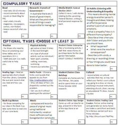 homework grid ideas for teachers