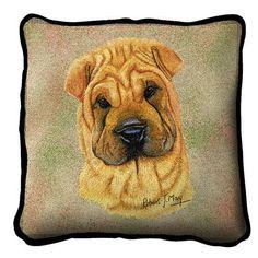 Shar Pei Dog Portrait Pillow